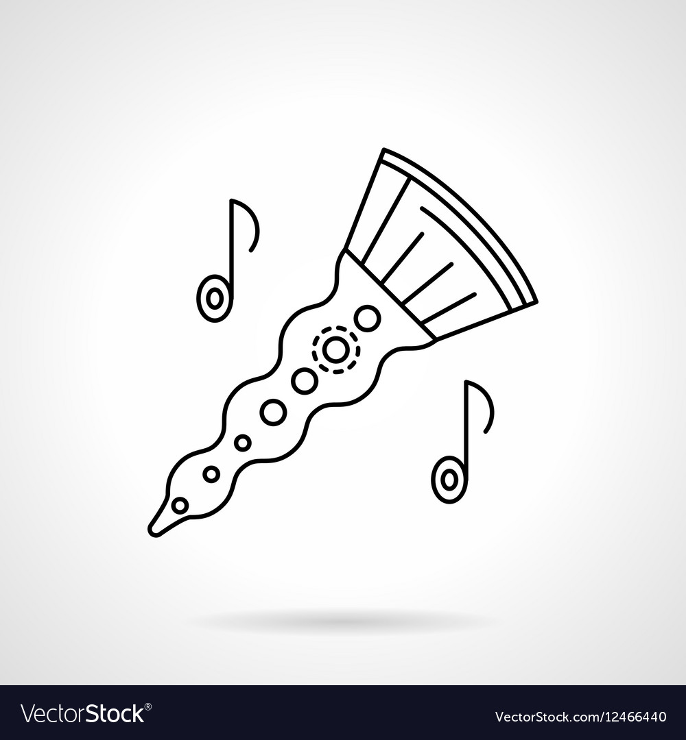 Woodwind horn flat line icon vector image