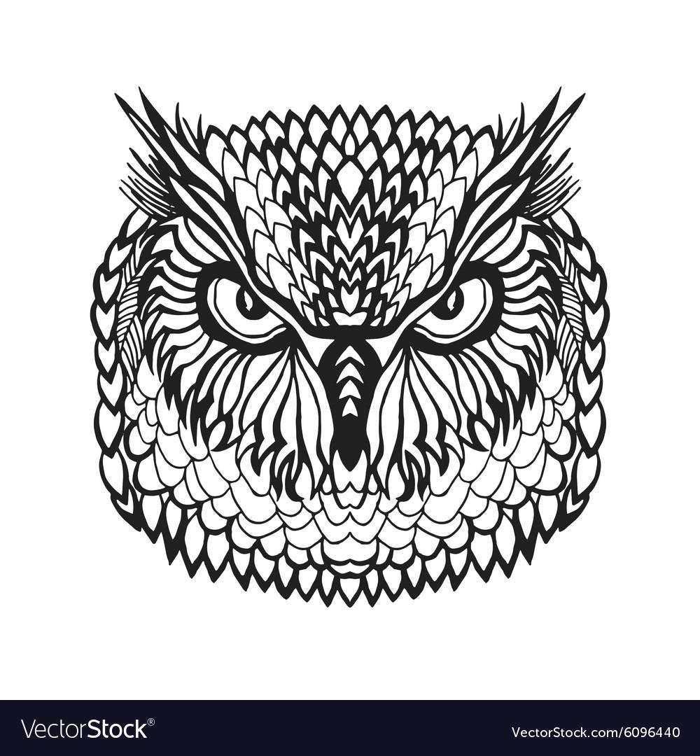 15b8f8580a9d0 Zentangle stylized eagle owl head Tribal sketch Vector Image