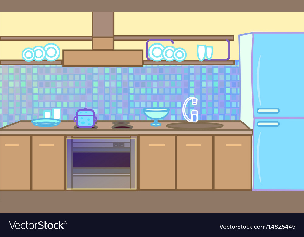 Cartoon flat kitchen color background Royalty Free Vector