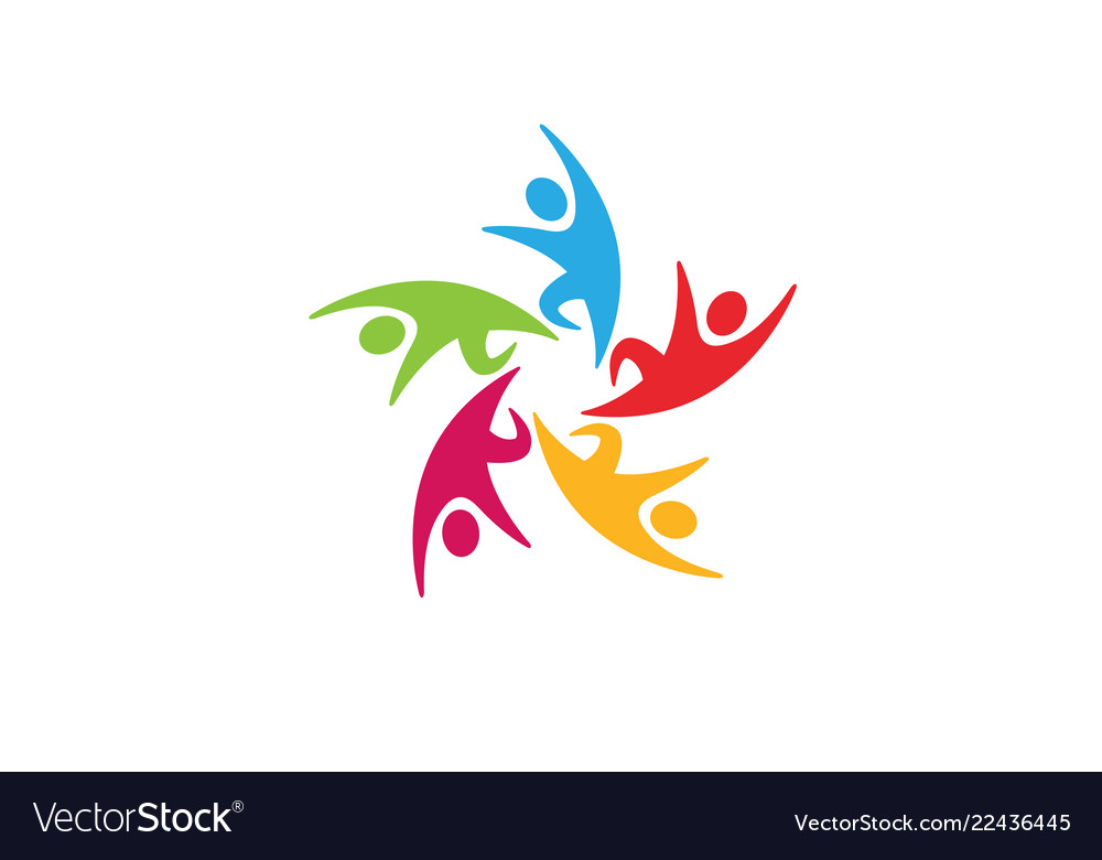 Colorful People Group Team Logo Royalty Free Vector Image