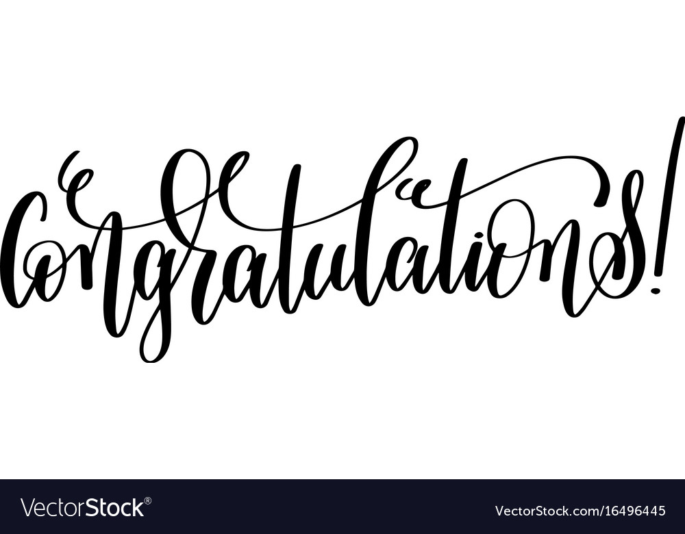 Congratulations - black and white hand lettering