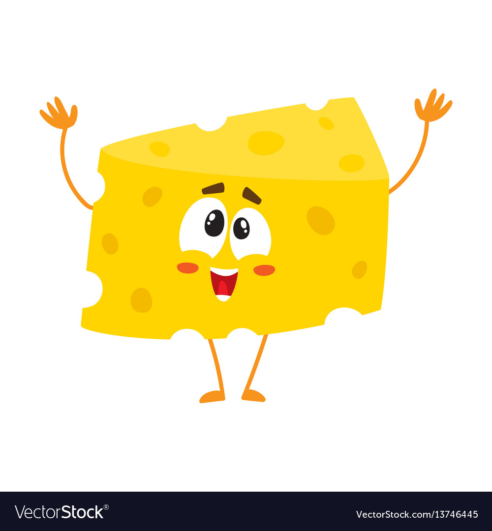 Cute and funny greeting welcoming cheese chunk vector image m4hsunfo