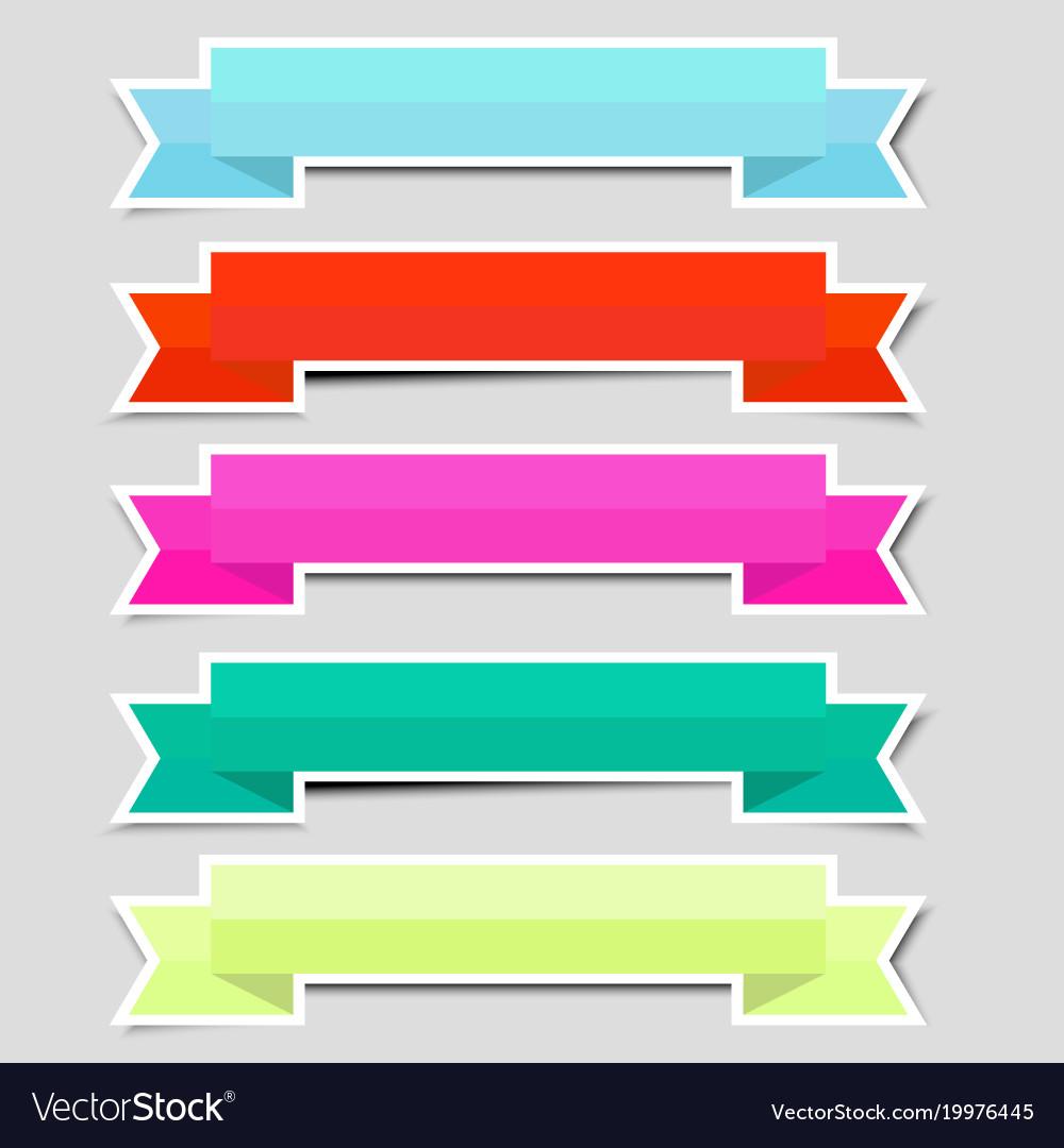Cute color ribbon banners paper sticker