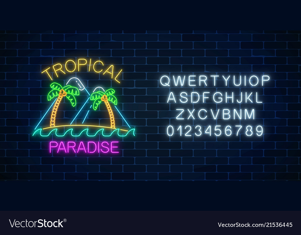Glowing neon summer sign with two palms mountains