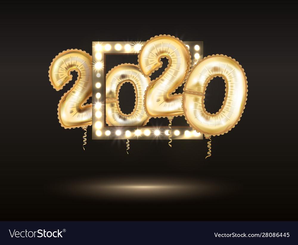 New year golden balloon golden metallic numbers