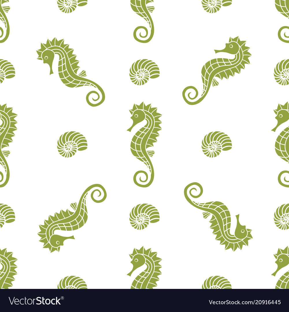 Pattern with seahorse and shells