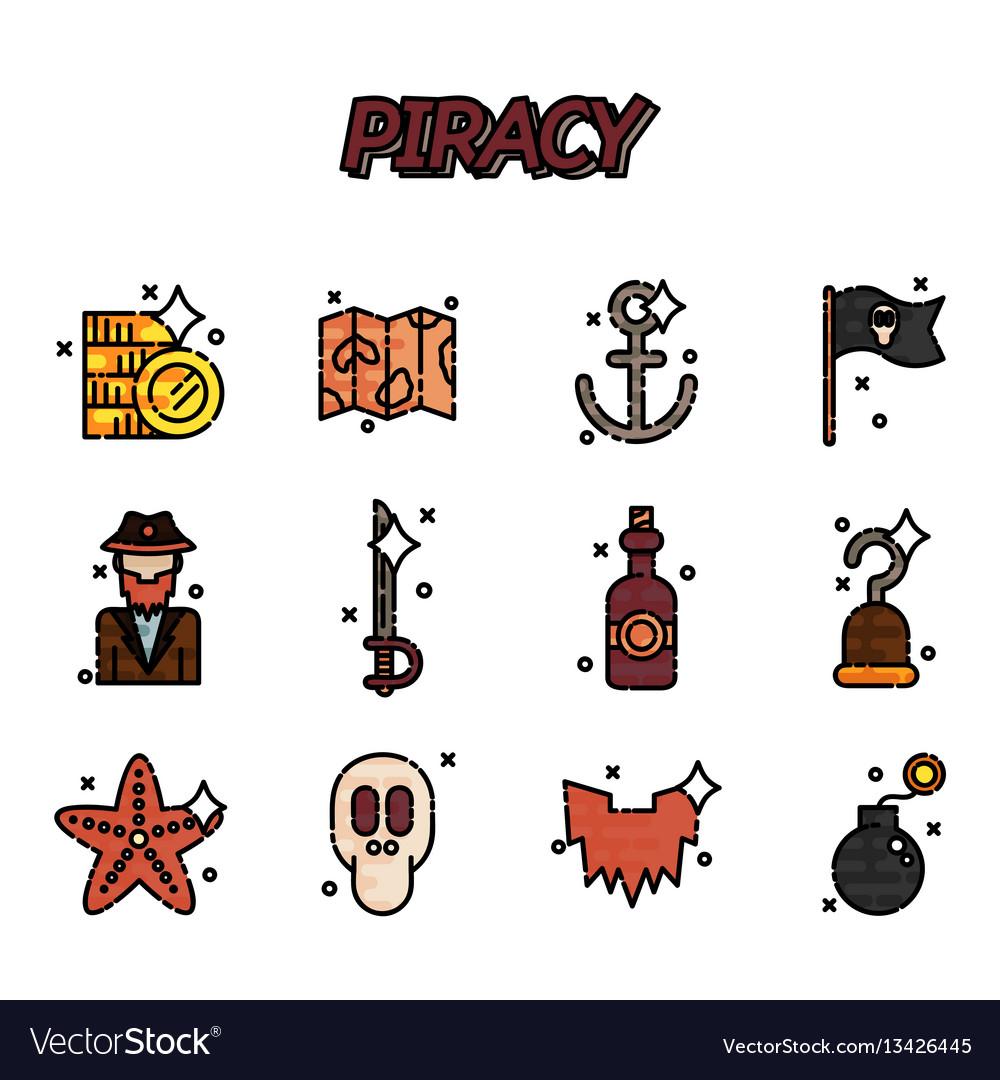 Piracy flat icons set