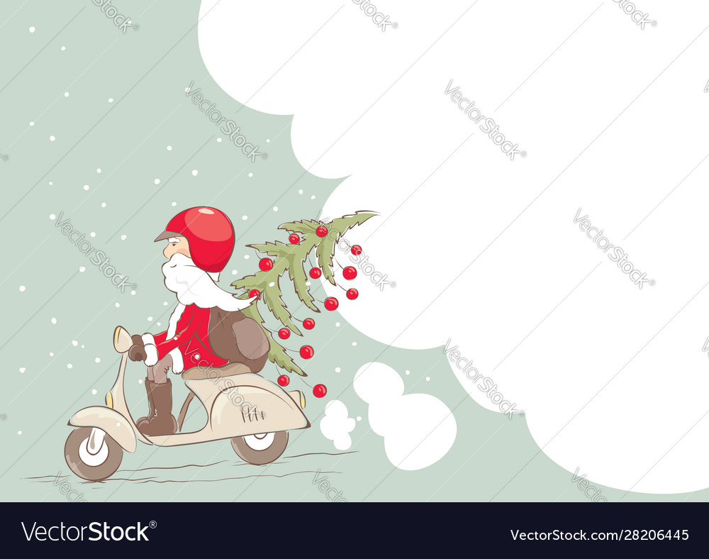 Santa on a scooter with a christmas tree and gifts