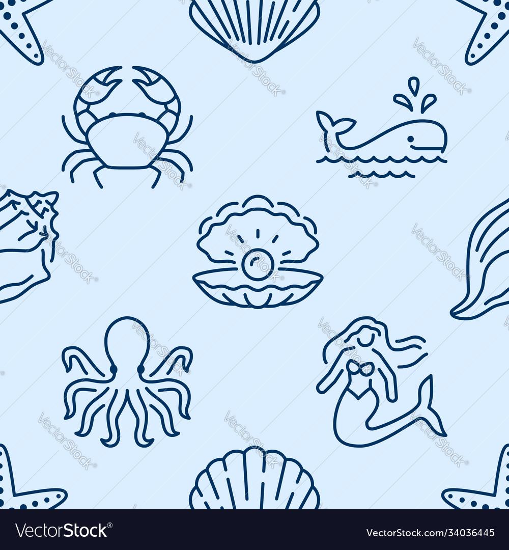 Seashell seamless pattern background