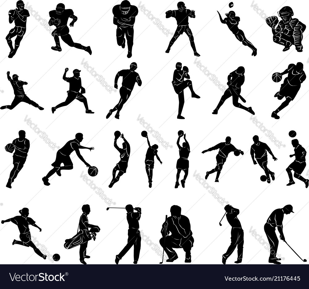 Set of sports people silhouettes collection