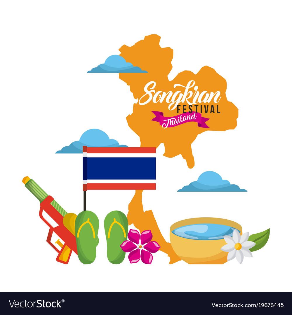 Songkran festival thailand map landmark flag