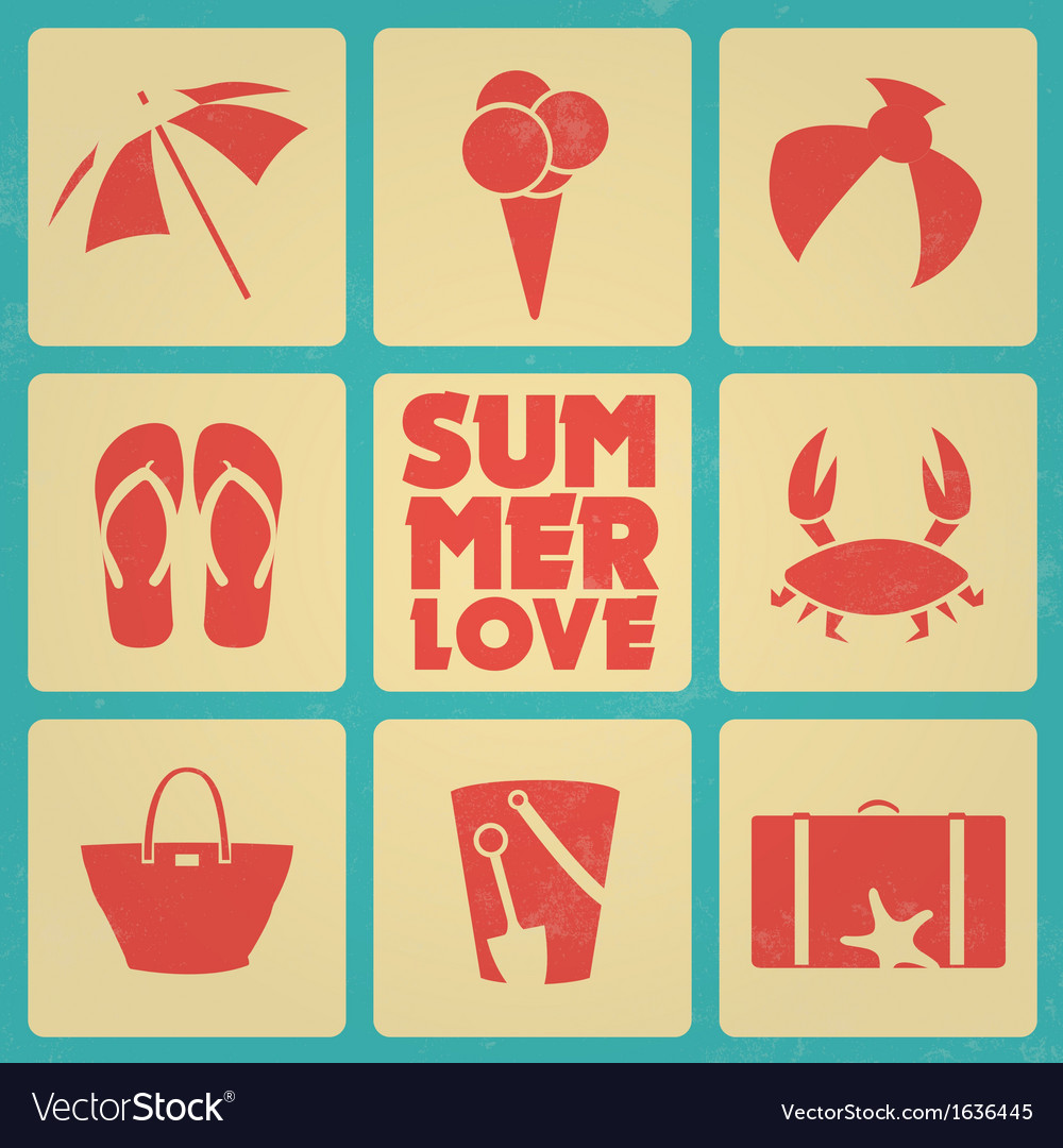 Vintage summer poster with icons retro colors