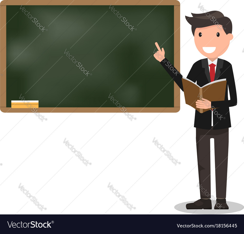 Young male teacher with book on lesson at