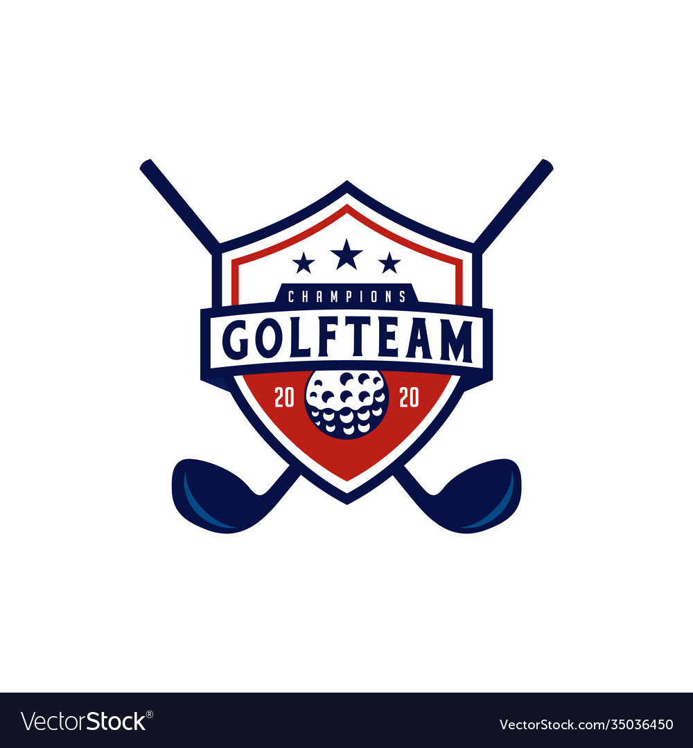American golf with shield emblem badge logo design