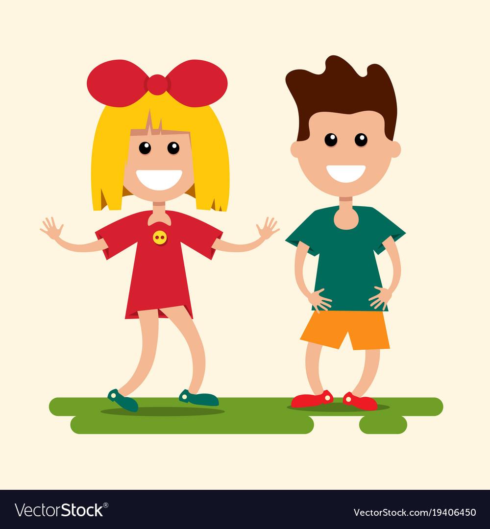 Boy and girl flat design kids cartoon