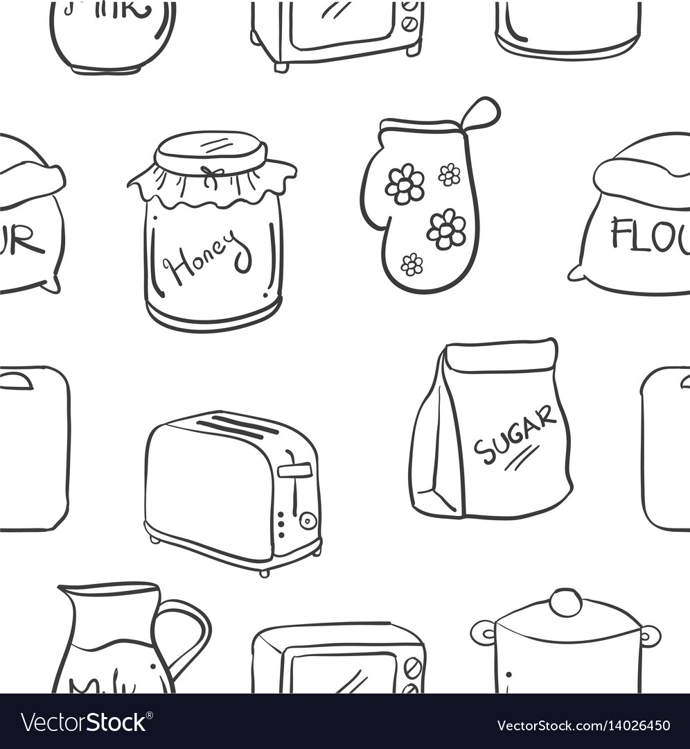 Collection Stock Of Kitchen Set Hand Draw Vector Image