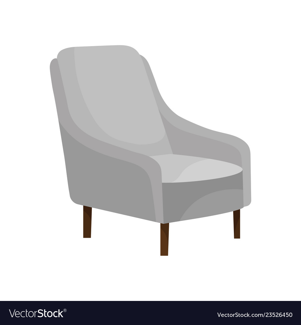 Comfortable armchair with soft gray upholstery and vector image