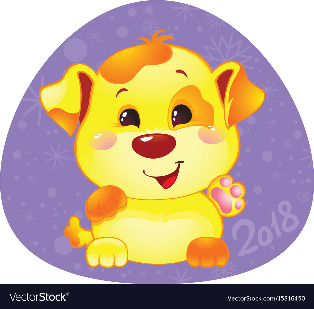 Cute symbol of chinese horoscope - yellow dog