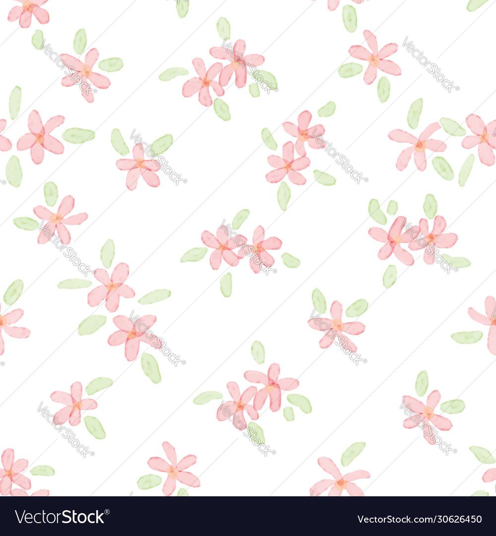 Cute watercolor pink plumeria seamless pattern