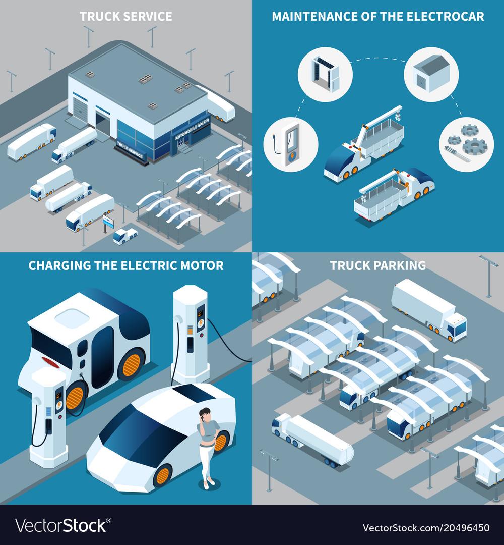 Electric vehicles isometric design concept