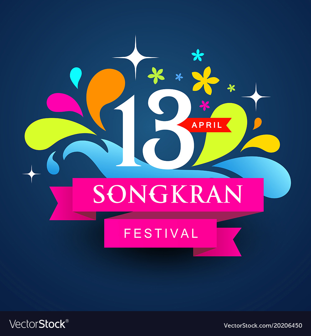Logo songkran festival colorful water