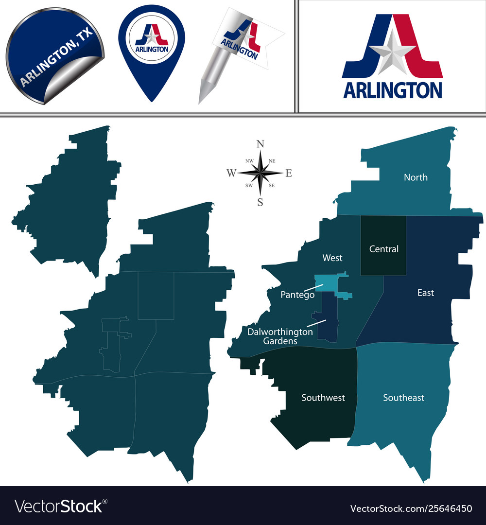 Map Arlington Tx With Districts Royalty Free Vector Image