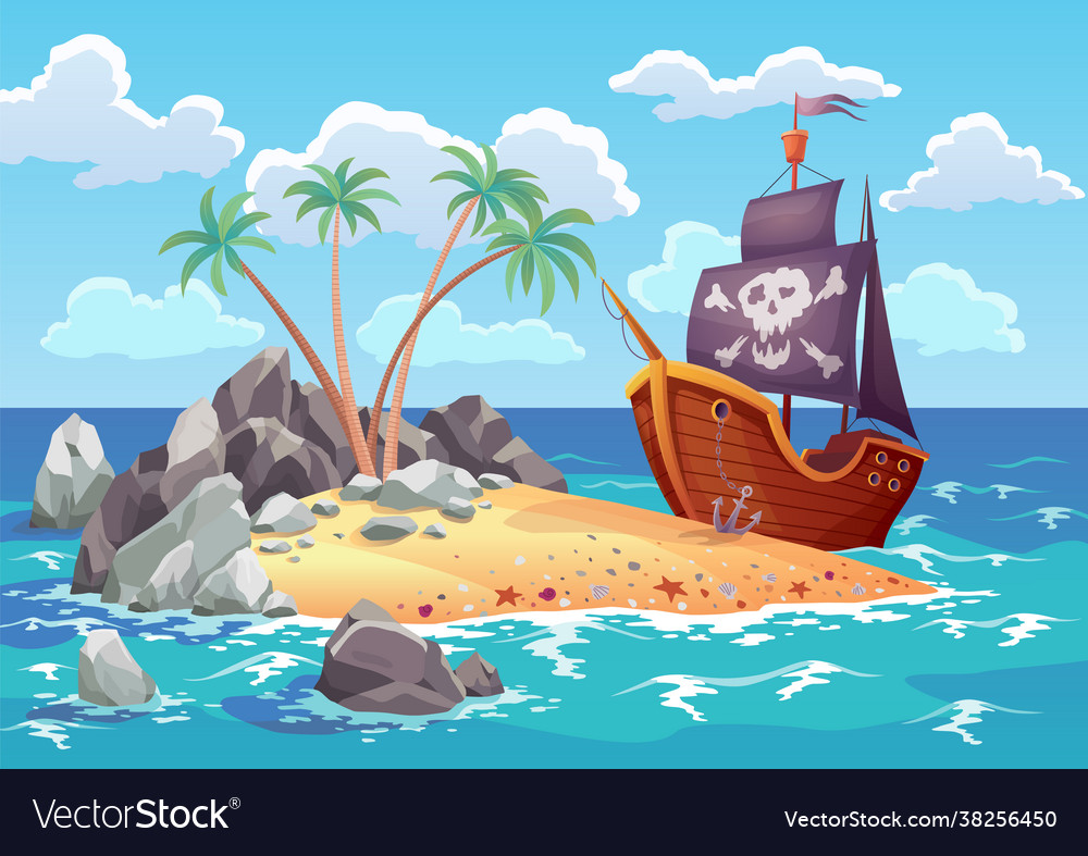 Pirate ocean island in cartoon style with ship