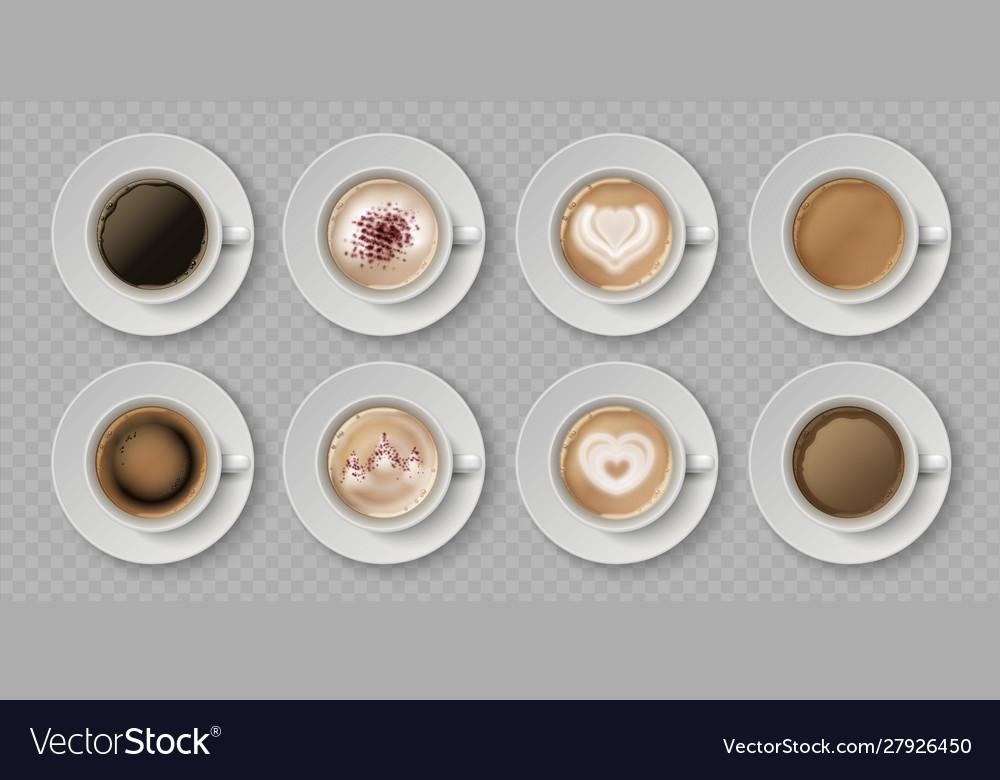 Realistic coffee cup top view milk creams in