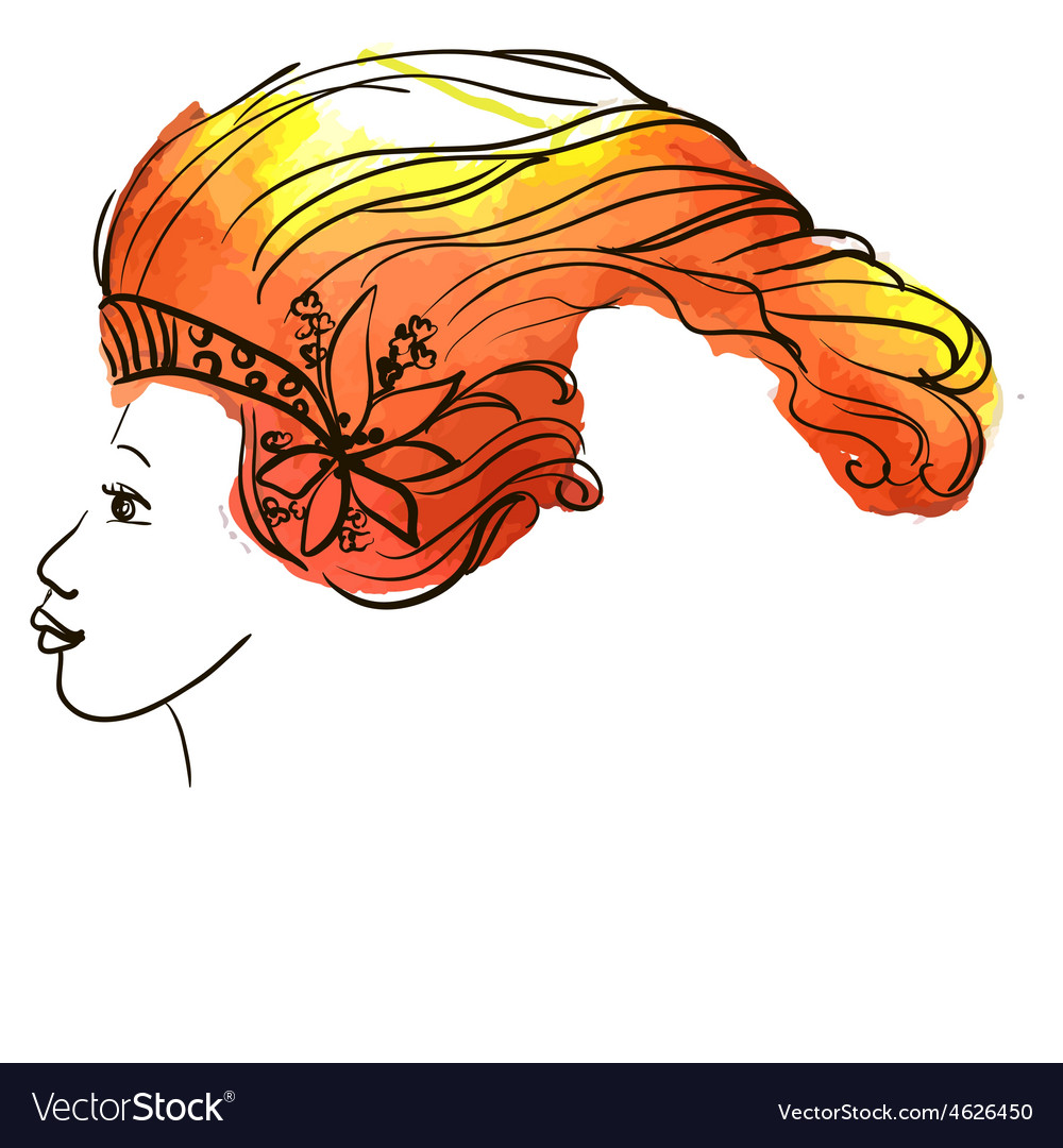 Sketch image of a beautiful girl vector image
