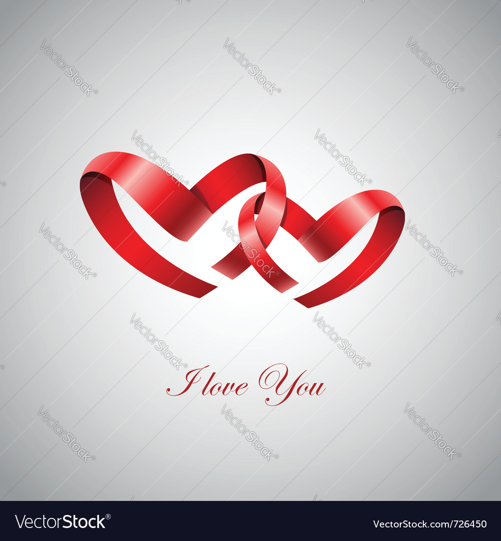 Two ribbon hearts inlove vector image