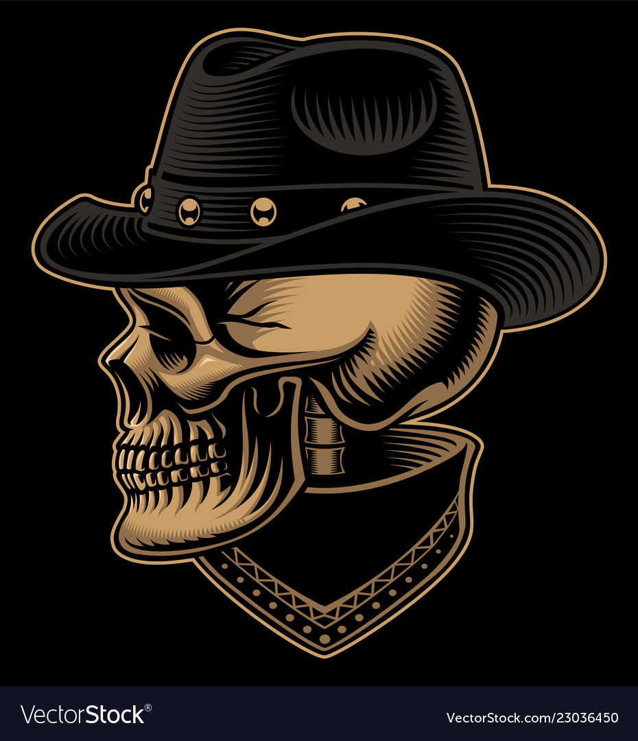 Vintage of cowboy skull in hat with bandana Vector Image ee77b05e0e4
