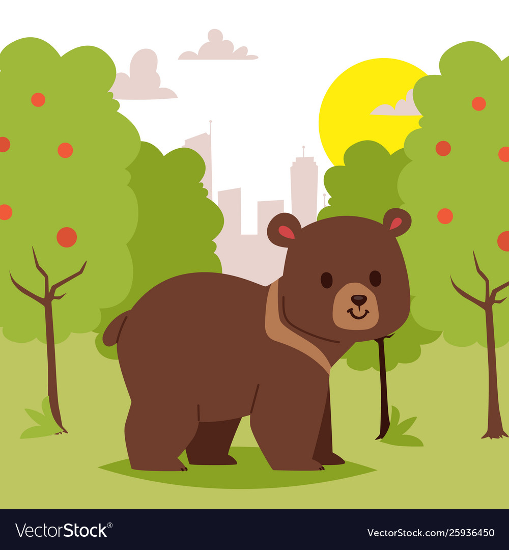 Wild cartoon animal bear walking in green area on