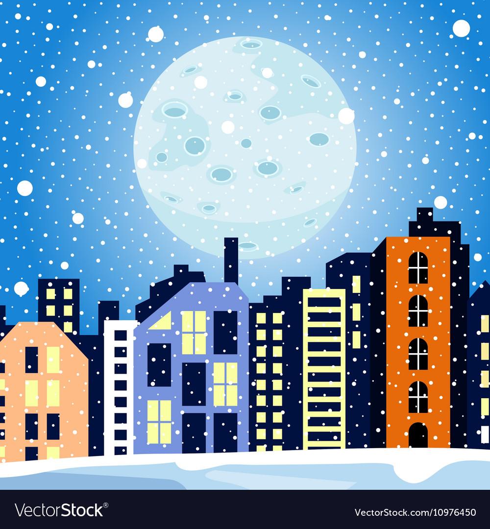 Winter cityscape Multi-colored home in the