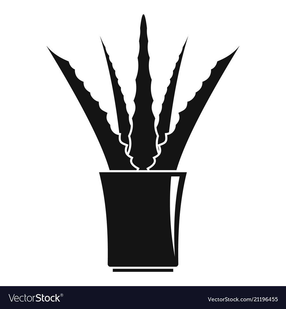 Aloe in pot icon simple style