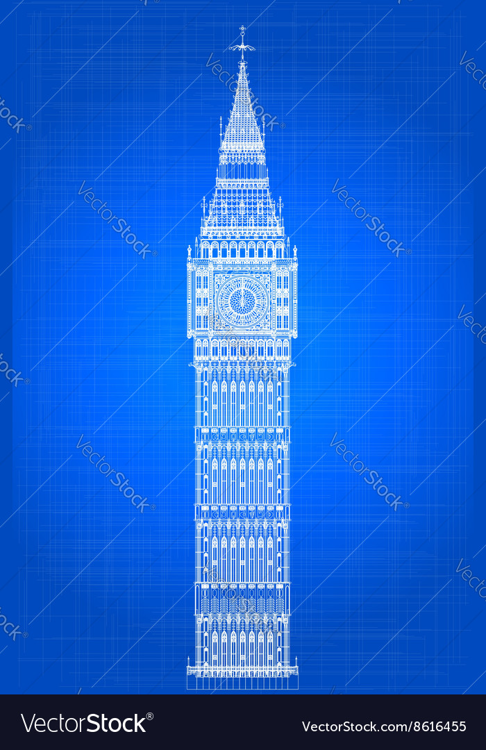 Big ben blueprint royalty free vector image vectorstock big ben blueprint vector image malvernweather Image collections
