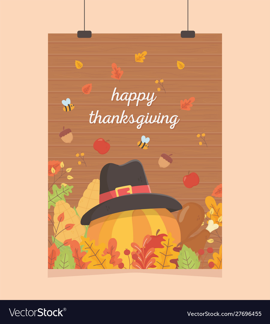 Happy thanksgiving poster hanging pumpkin with hat