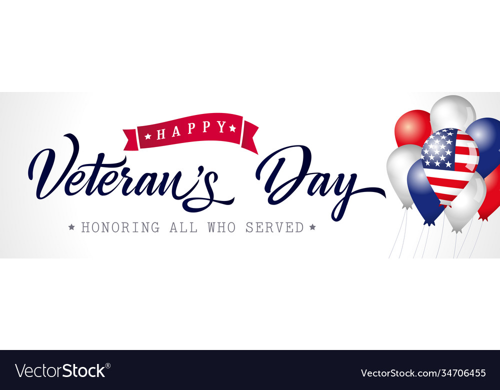 Happy veterans day usa poster with balloons