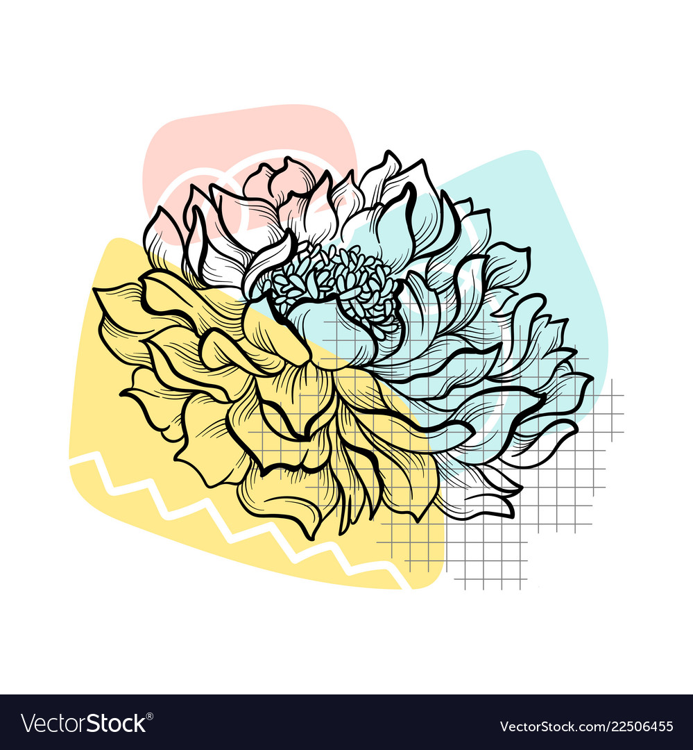 Outline Flower With Colorful Abstract Backdrop