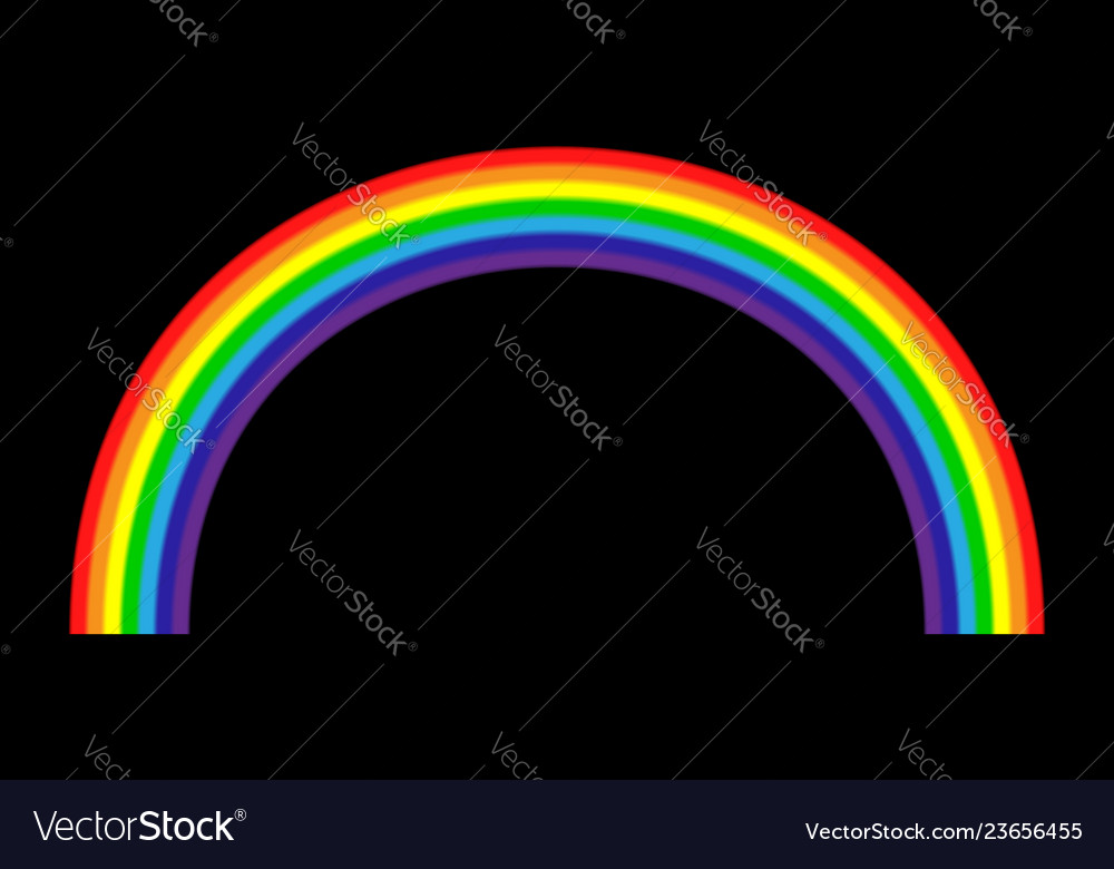 Rainbow icon realistic isolated black background
