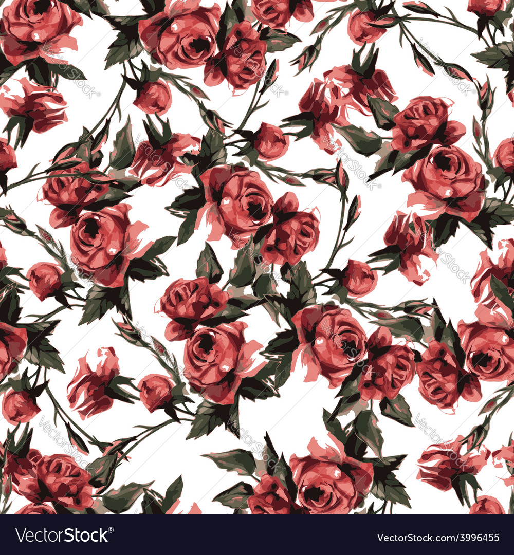 Seamless Floral Pattern With Pink Roses Watercolor