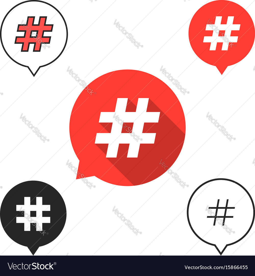 Set of speech bubbles with hashtag icon vector image