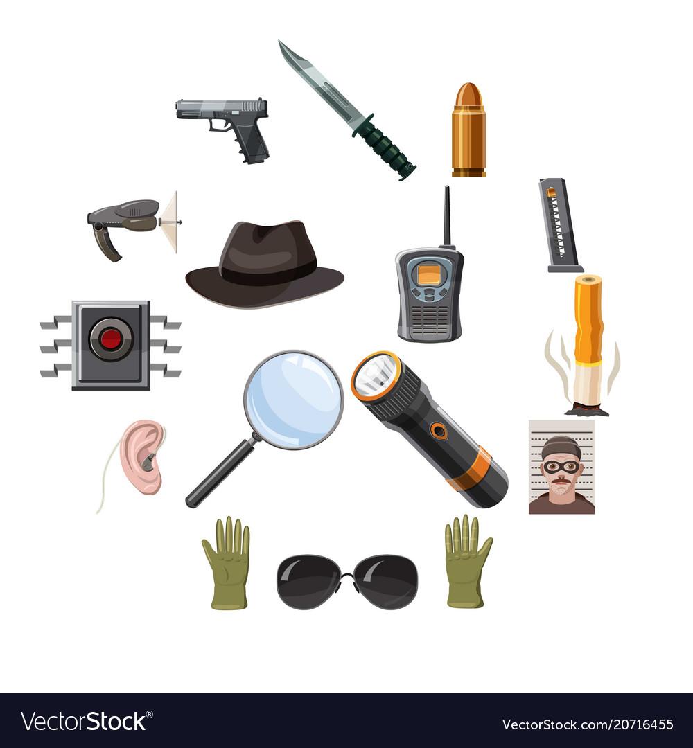 Spy icons set cartoon style