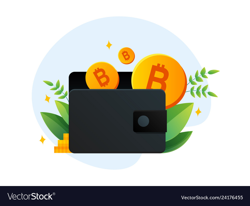Virtual wallet with bitcoin in template
