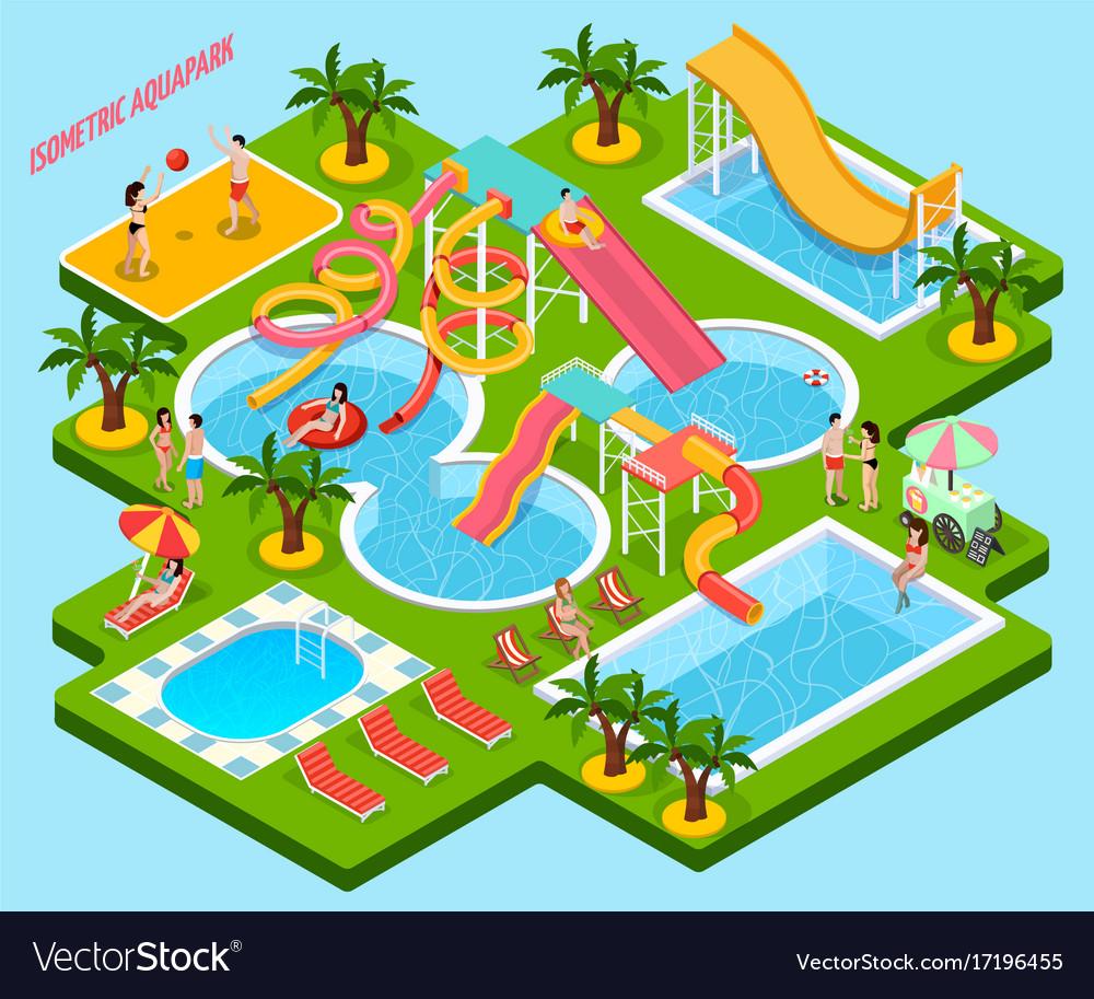 Water park aquapark isometric composition vector image