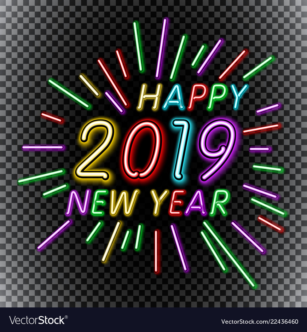 2019 happy new year neon text template for