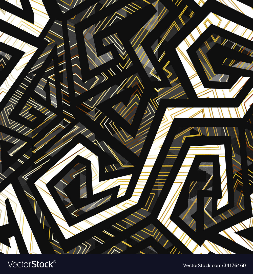 Abstract geometric pattern with grunge stripes