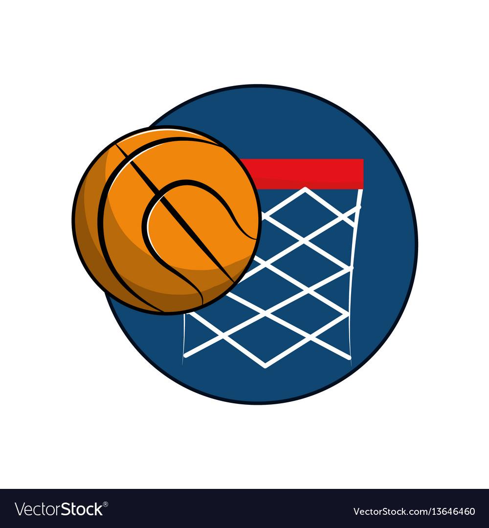 Basketball and basket with the ball icon