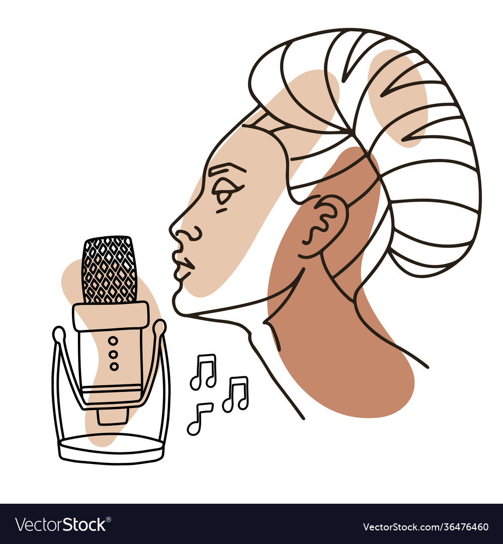 Beautiful woman singing in mic professional vector