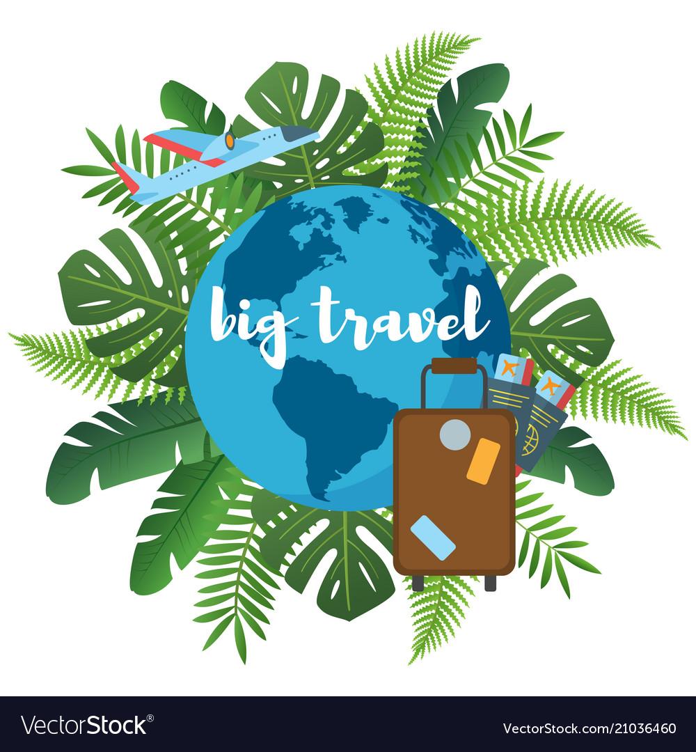 Big travel flat poster