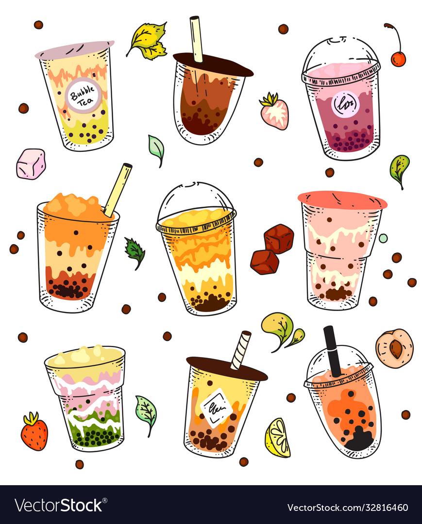Bubble tea set isolated ice cold pearl milk tea